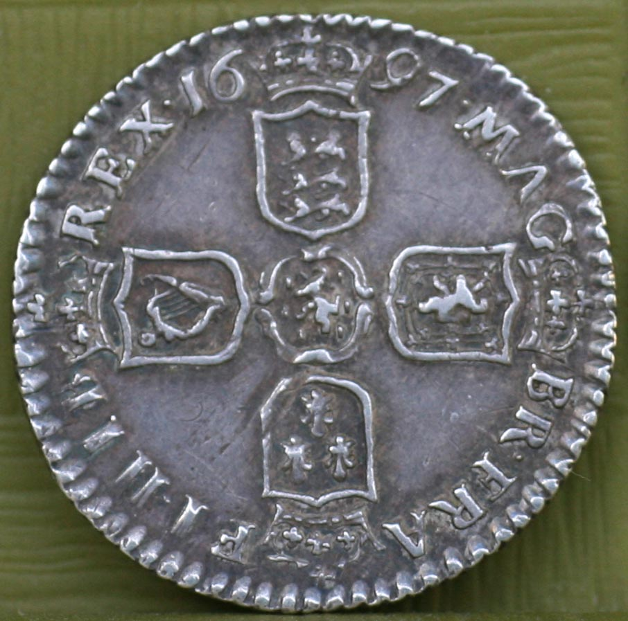 *NEW* 1697 sixpence. VF
